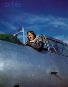 Lt.  Robert Taylor Sitting in Navy Fighter