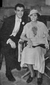 """Robert Taylor and his mother, Ruth Brugh, on the set of """"Magnificent Obsession,"""" 1935."""