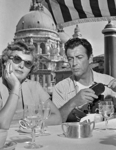 Robert Taylor & Barbara Stanwyck in Venice, 1950.