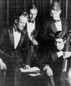 Doane String Quartet during the1930-31 school. year. S.A. Brugh is on the far right.