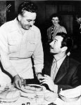 Taylor's favorite food was steak and he is shown here on 5/20/53 with Ross Lorello at Ross' Steakhouse in Omaha.  (Omaha World Herald)