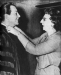 Robert Taylor shown her on 10/25/63 with his former drama instructor before the ceremony in which Doane granted him the honorary degree of Doctor of Humane Letters.