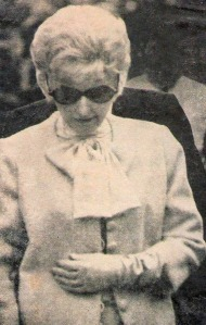 Barbara Stanwyck at Robert Taylor's funeral, 1969.